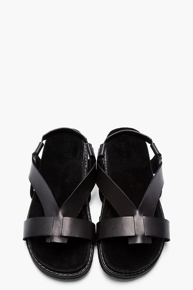 DAMIR DOMA Black leather Fuego sandals