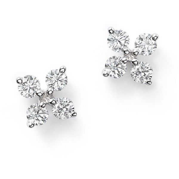 Diamond Small Clover Studs in 14K White Gold, .35 ct. t.w. (5.745 BRL) ❤ liked on Polyvore featuring jewelry, earrings, white, white gold diamond jewelry, 14k earrings, four leaf clover earrings, clover stud earrings and stud earrings