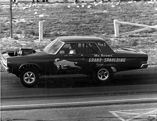 Norm Krause's A/FX Dodge. Dyer spent the bulk of his career driving for Krause, the owner of Grand-Spaulding Dodge in Chicago who was famous for his iconic Mr. Norm's ads.