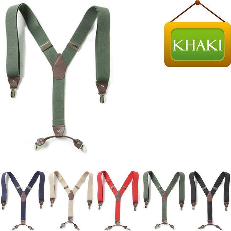 Mens Womens Faux Leather Elastic Suspenders Wide Suit Y-Back 4 Clip Braces KHAKI #springsummerfallwinter