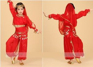 Girls-Kids-Belly-Dance-Costume-Outfit-Top-Pants-Bollywood-Halloween-Indian-Dance