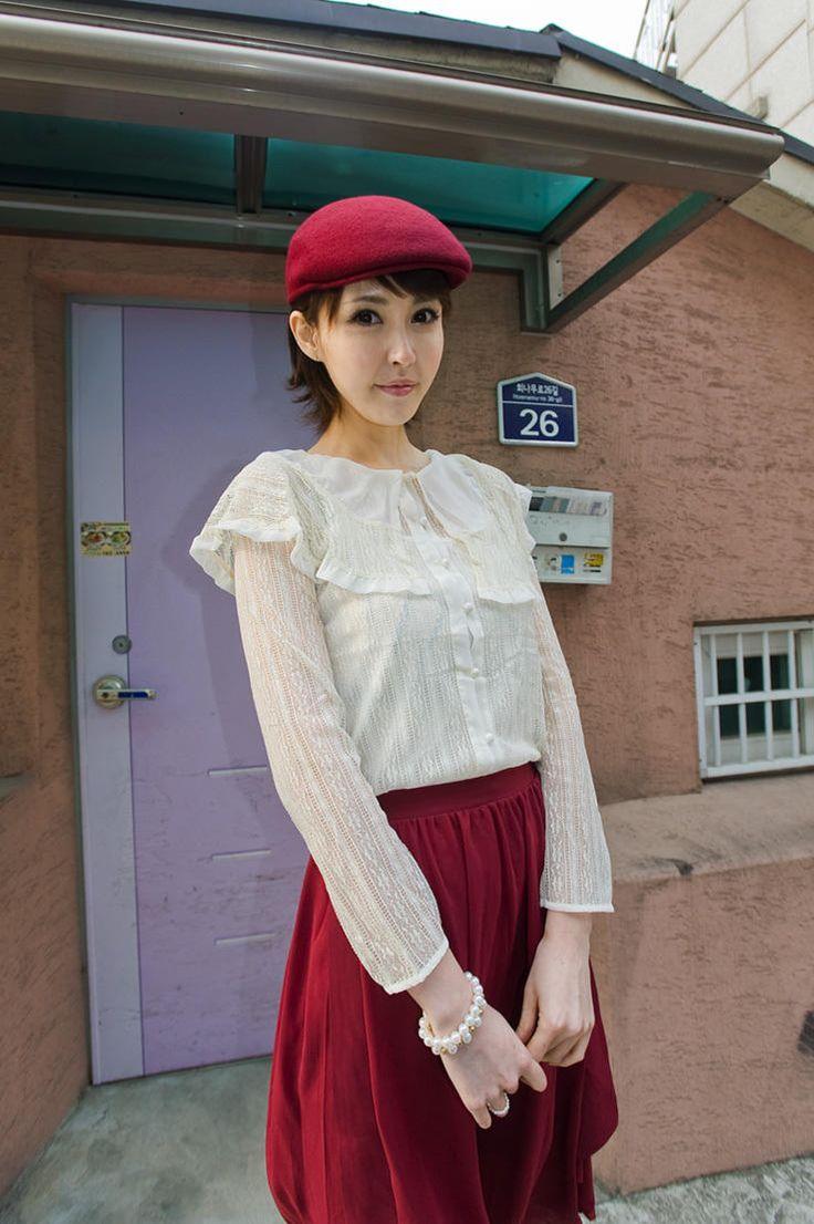 full lace wide collar blouse from Kakuu Basic. Saved to Kakuu Basic Blouses & Shirts.