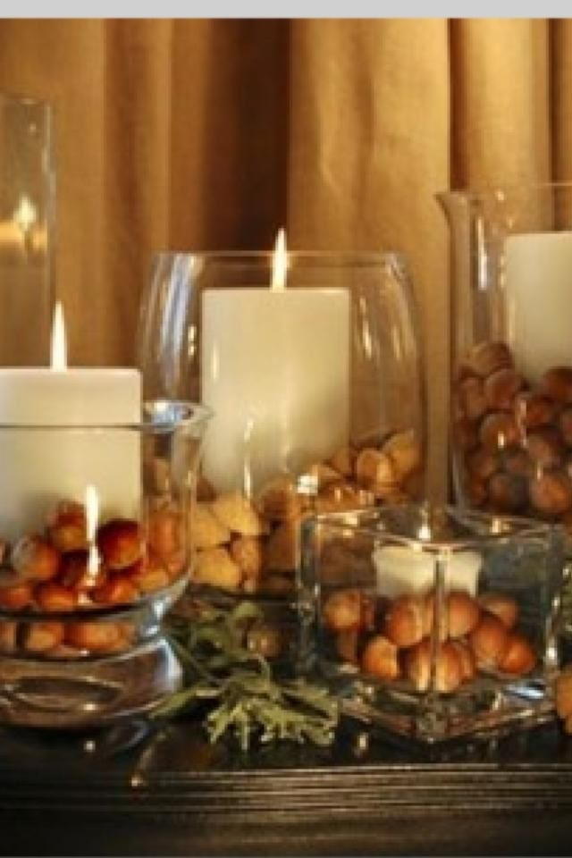 Table decor for fall simple I'd use Hazelnuts since we have a tree out front