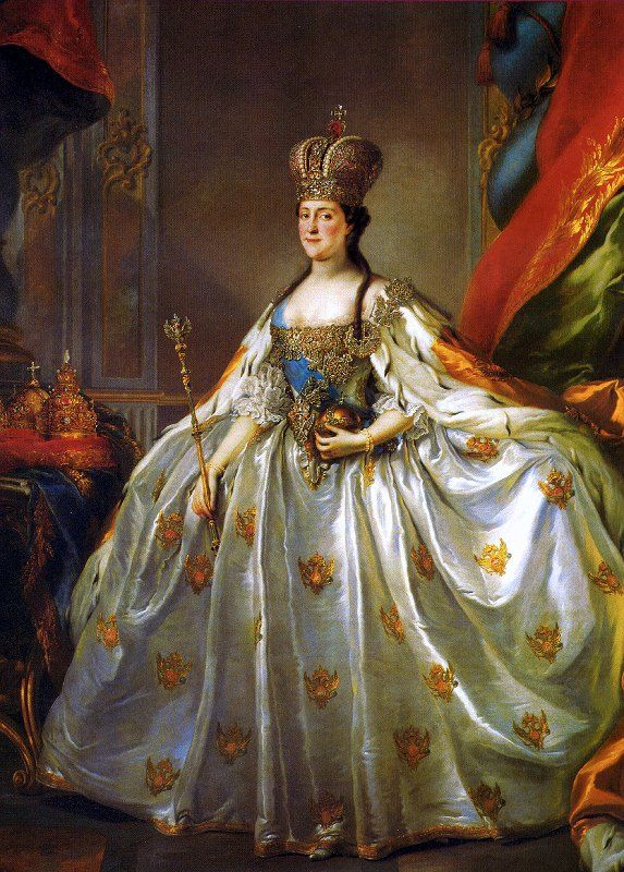 Catherine the Great in her crown and coronation robes. Her jeweler and robe-maker had just 2 months to in which to produce this finery. The crown, which was not finished, was subsequently enriched with many enormous diamonds.