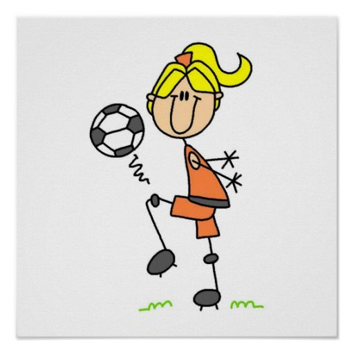 Blond Stick Figure Soccer Player Girl Gifts Poster
