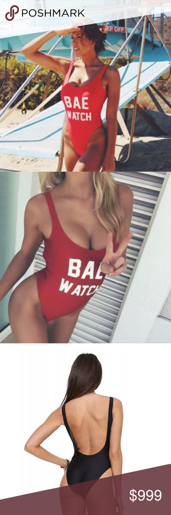 NEW! Red BAE Watch One-Piece Swim Coming Soon!  NEW! Red BAE Watch One-Piece Swimsuit - Super Sexy! Low-Cut in the back Polyester Spandex Material  Bundle & Save! Free Gift with Every Purchase! Swim One Pieces
