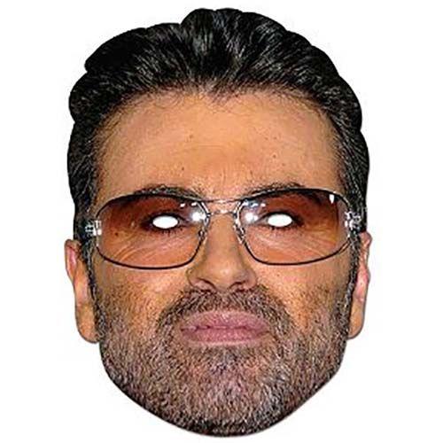 """Laadukas ja täysin aidon näköinen valokuvasta tehty pahvinen muotoon leikattu """"George Michael"""" naamio silmäaukoilla ja joustavalla kiinnitysnarulla. Koko noin 28cm x 20cm. Järjestä kunnon julkkisbileet ja hommaa naamarit kaikille!"""