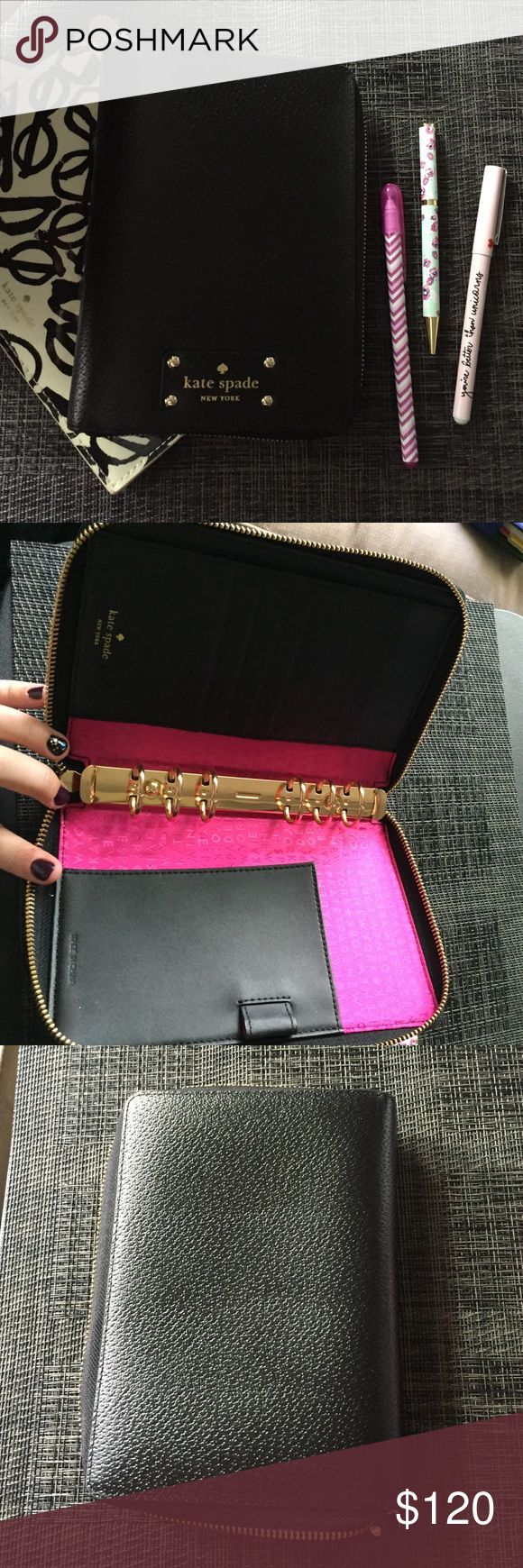 Kate Spade Wellesley zip planner agenda Barely used 2016 Kate spade personal Wellesley planner. Excellent condition. Used maybe 2 months. Bottom rings have very slight gap, see picture. I bought it this way and does not affect use. She is ready for a new home! No trades! kate spade Accessories