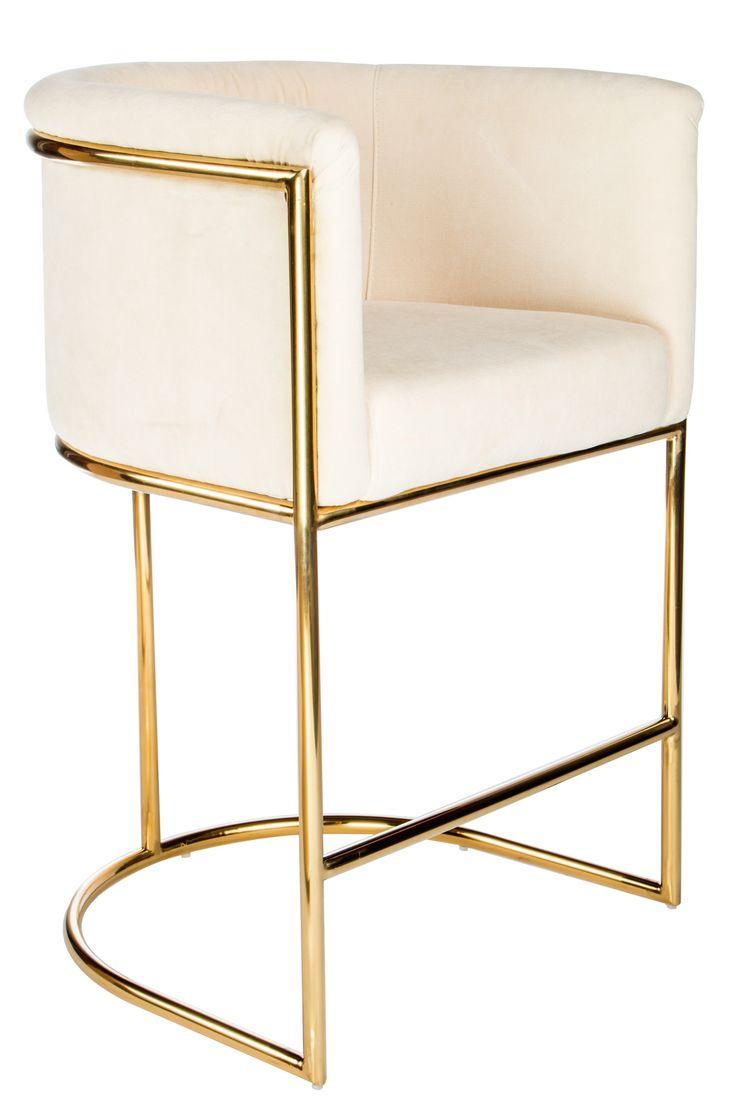 "Materials: Chrome, linen Measurements : 23.5""w x 22""d x 35.5"" h, 30 pounds Seat height: 26"" Color : Gold, cream"