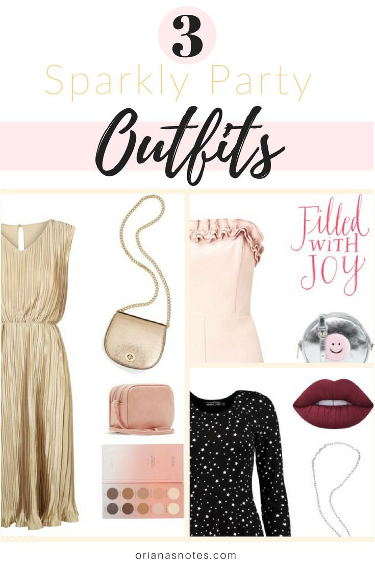 3 Sparkly Party Outfits for New Year's Eve ! A Gold Dress, a Little Black Dress, and a Pink Playsuit.