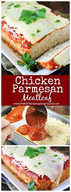 Chicken Parmesan Meatloaf - Loaded with the flavors of Italian herbs and garlic, all topped with sauce and yummy melty cheese.  It's a dinnertime favorite!
