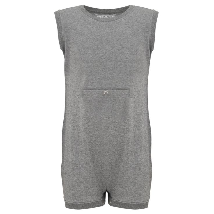 KayCey SUPER SOFT Bodysuit - Sleeveless with Tube Access - GREY | http://specialkids.company/