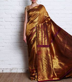 Violet & Gold Kanjivaram Pure Silk Saree
