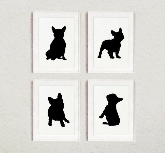 French Bulldog Silhouettes set of 4 Frenchie Sign by Silhouetown