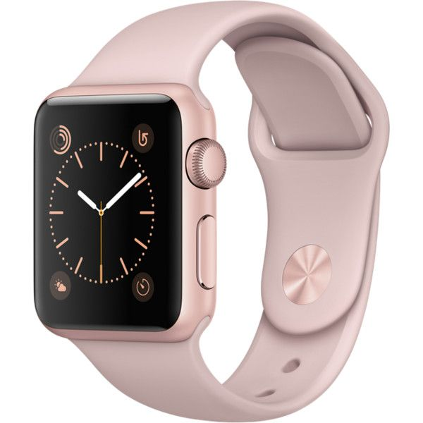Apple Watch Rose Gold Aluminum Case with Pink Sand Sport Band (1.065 RON) ❤ liked on Polyvore featuring jewelry, watches, rose gold jewelry, pink wrist watch, sand jewelry, sports jewelry and sport jewelry