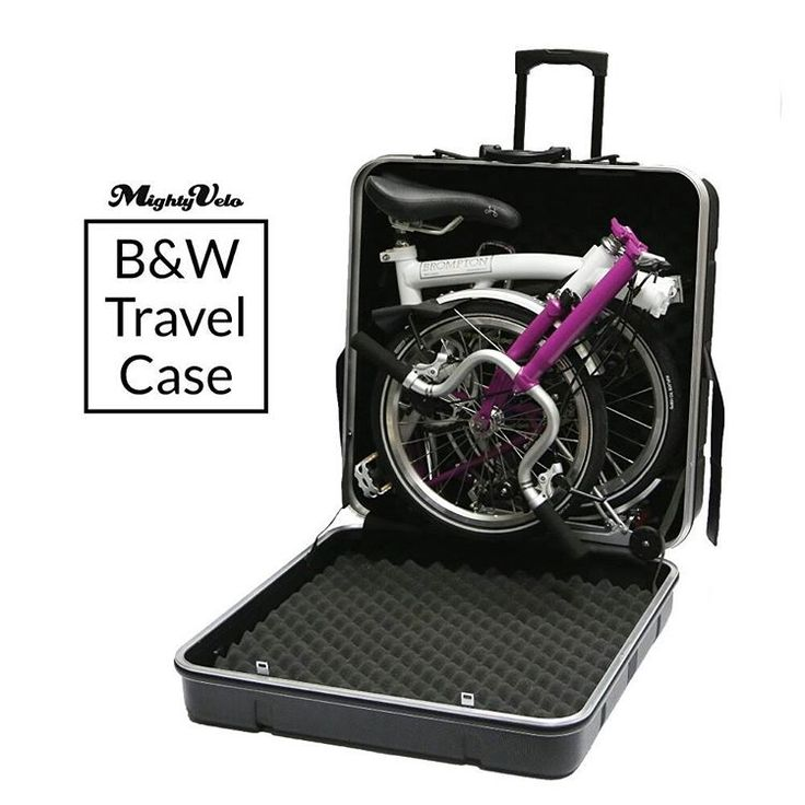 Introducing the B&W travel case for your Brompton.  Weighs 7 kg, it is made of shell-vacuum moulded strike-proof ABS plastic.   Simple and easy to use.