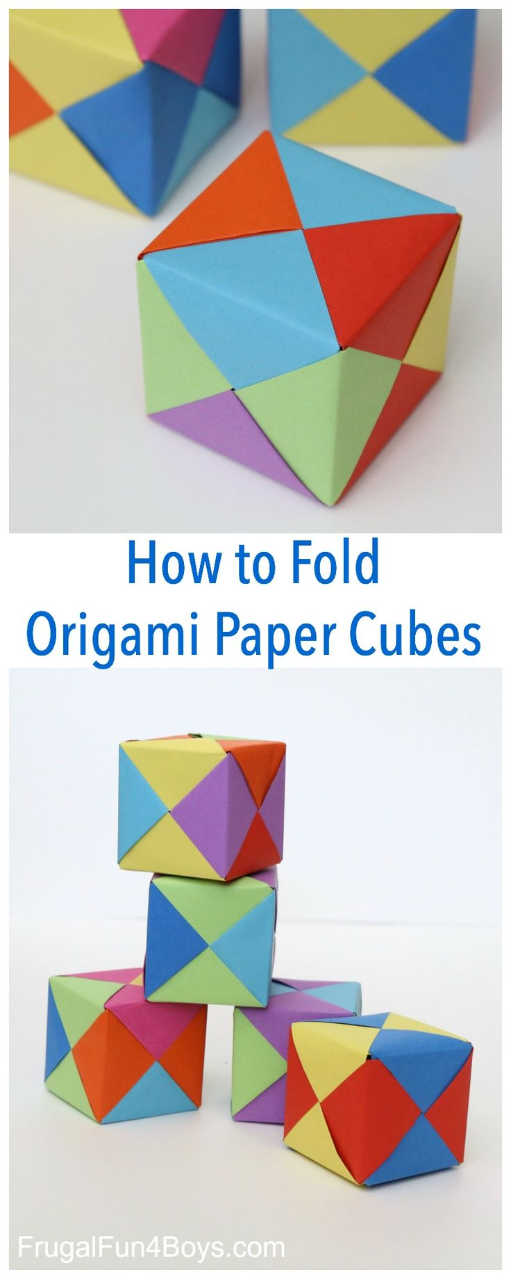 Here's another fun paper folding project!  Make some simple origami cubes.  These cubes are built from six different pieces of paper that fit together perfectly.  They hold together without any tape or glue!  After learning how to make paper ninja stars, my 8 year old was excited to try this project. I found this project …