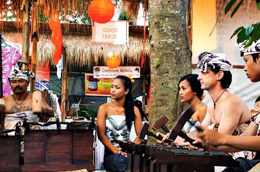 Play to save: Vaughan Hatch (second from right) and his wife performing a traditional Balinese music. Hatch o...