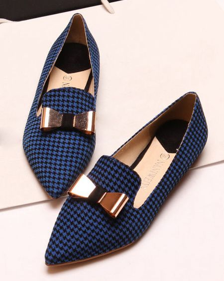POPULAR Elegant Bow and Houndstooth Design Flat Shoes For Women
