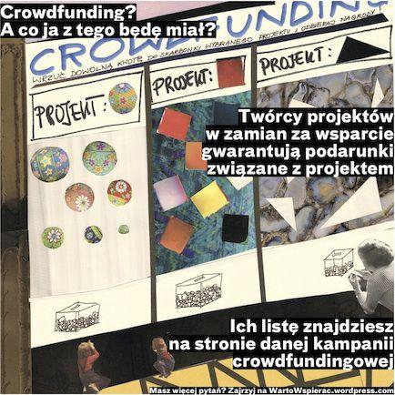 kolaż przedstawia witrynę sklepową, w niech 3 projekty crowdfundingowe i przynależne im nagrody. Tekst: Crowdfunding? A co ja z tego będę miał? Twórcy projektów w zamian za wsparcie gwarantują podarunki związane z projektem. Ich listę znajdziesz na stronie danej kampanii crowdfundingowej. Masz więcej pytań? Zajrzyj na WartoWspierac.wordpress.com