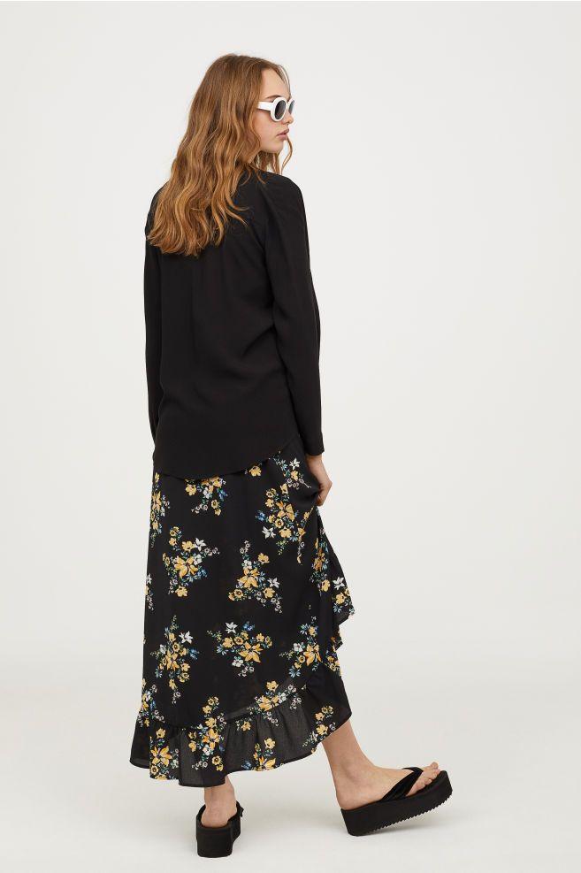 fcd06f8f Długa kopertowa spódnica - Czarny/Kwiaty - ONA   H&M PL 1   Day look ...