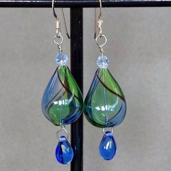 Blue and Green Blown Glass Earrings by CoyoteRidge on Etsy, $20.00: Glasses Earrings, Magic Jewelry, Green Blown, Jewelry Creations, Blown Glasses, Earrings Beads, Glass Earrings, French Wire, Handmade Jewelry