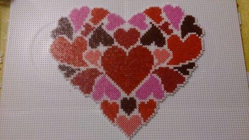 Heart hama perler beads by susanne damg rd s rensen - Coeur perle a repasser ...