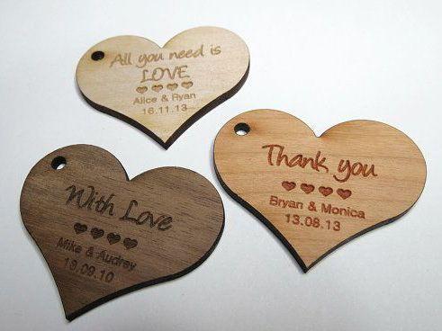 50 - 2 x 2 Heart Tags - Custom Wedding Tags - Wood Wedding Tags