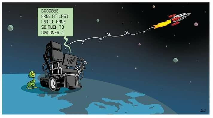 Nicolas Vadot (2018-03-15)   Mort de Stephen Hawking (1942-2018) . Dessin paru dans L'Echodu 15 mars 2018.