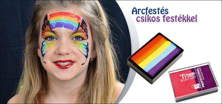 Arcfestés csíkos festékkel - Tudj meg mindent az egymozdulatos festésről! http://tytoo.hu/csillamtetovalas-blog/arcfestes/hogyan-vigyel-fel-egyszerre-tobb-szint-arcfesteskor-mindent-a-csikos-arcfestekekrol.html