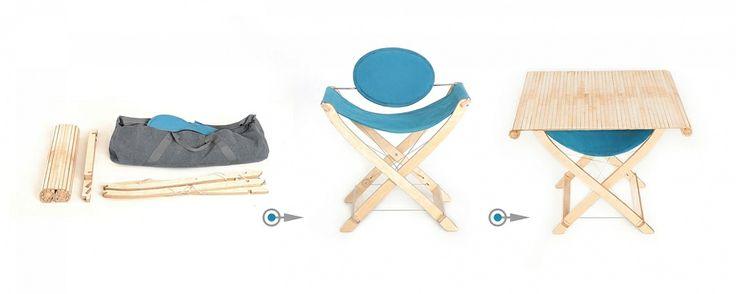 """To więcej niż wyjątkowo wygodne krzesła! W kilka sekund możesz je przekształcić... - w stół - w stół z wygodnym schowkiem na gazety - w wysoki stół """"na party"""" - w koziołki podtrzymujące blat do pracy czy też stół cateringowy - z 4 krzeseł zrobisz wygodny hamak lub łóżko polowe. Projektant: Karol Starczewski, KANWA, do kupienia na www.nowymodel.org"""