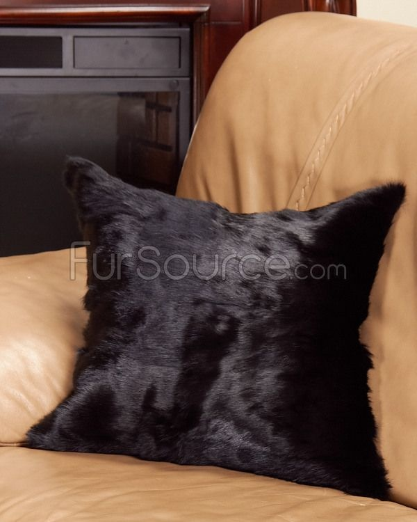 Black Full Pelt Rabbit Fur Pillow with Suede Back Fur Pillows Pinterest Fur throw, Fur and ...
