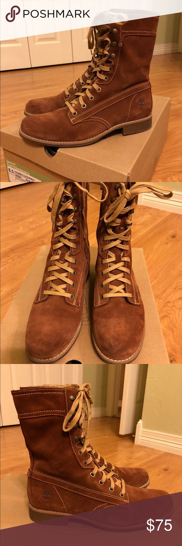 Timberland Earthkeepers suede boots size 8.5 Beautiful rustic suede boots have a lace up entry or a side zip entry. Like new condition worn only two times. Heel is less than one inch. Extremely comfortable. Timberland Shoes Ankle Boots & Booties