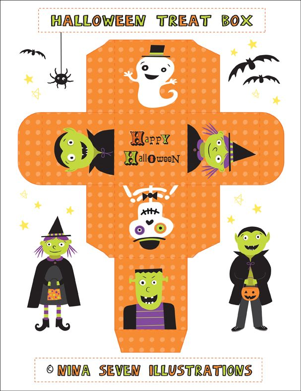 party favor treat box - lots of designs #free #printable #halloween