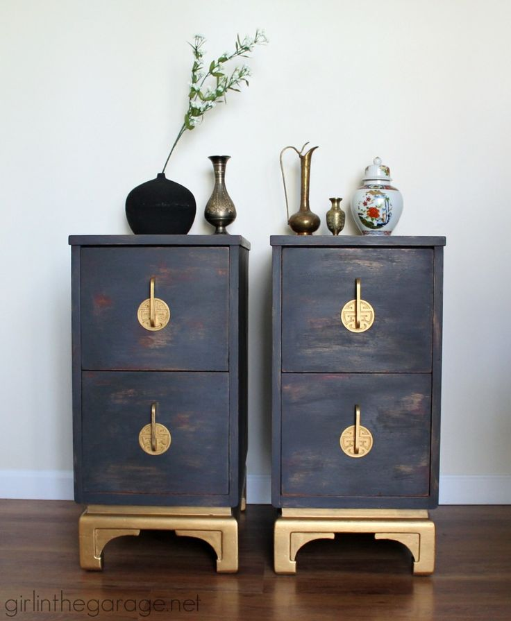 Oriental style nightstands get a makeover with the help Olympic Gold Metallic Paint by Modern Masters | Project by Girl in the Garage