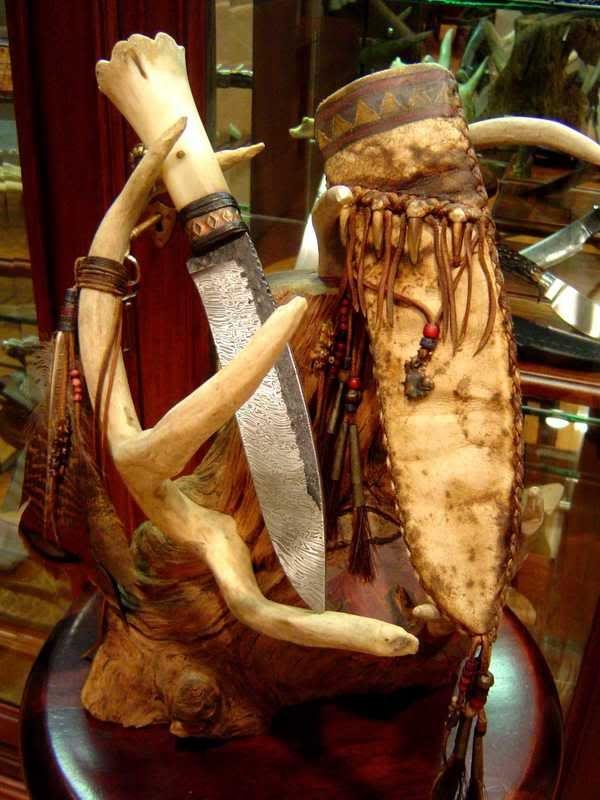 Frontier/Rustic style knives. Daniel Winkler-Karen Shook's belt knife with elk bone handle, damascus and sheath.