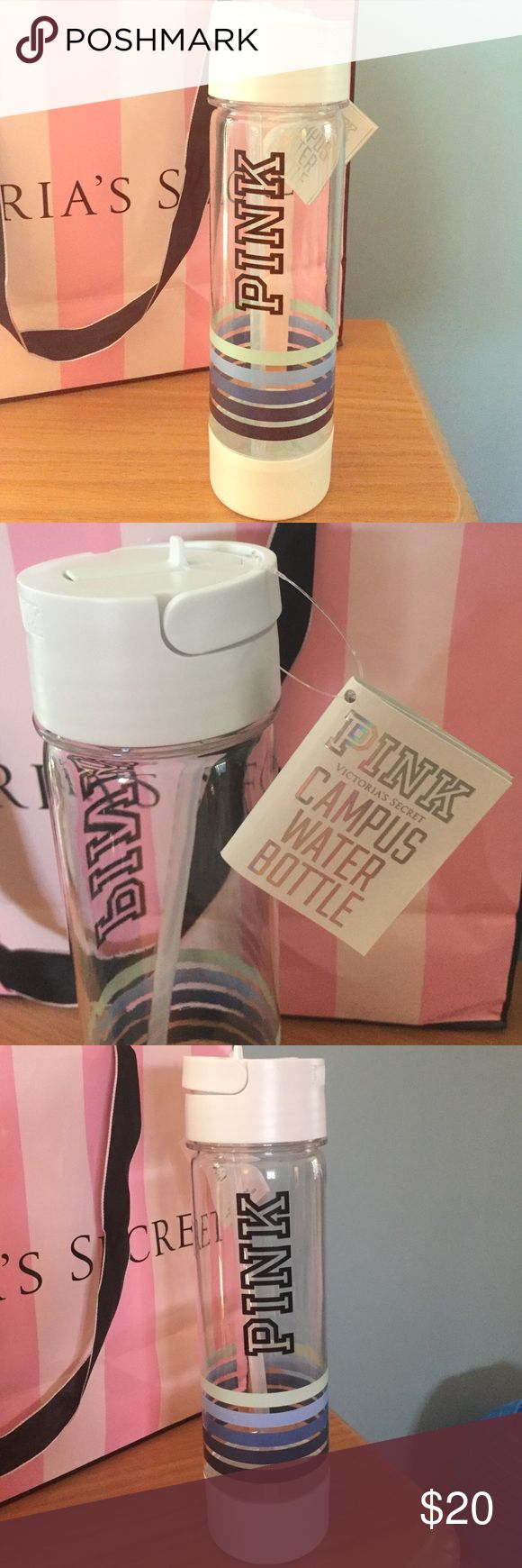 Victoria's Secret Pink water bottle NWT VS Pink water bottle clear with stripes.  Perfect gift for those early Christmas shoppers!  Sells for $16.95 online-great deal 👍🏻 PINK Victoria's Secret Other