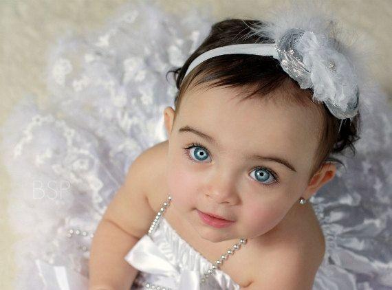 Christening Headband Baby Birthday Headband by nanarosedesigns, $18.50Christmas Flower, Blue Eye