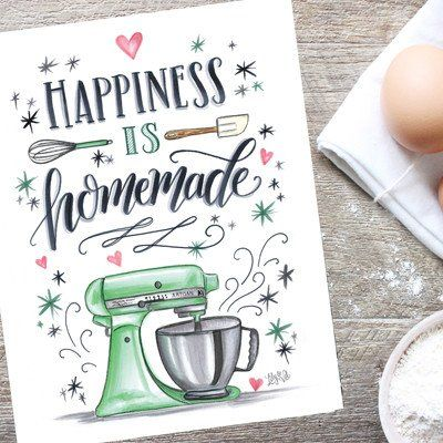 Happiness is Homemade - Print #bakery #Gifts #Kitchen