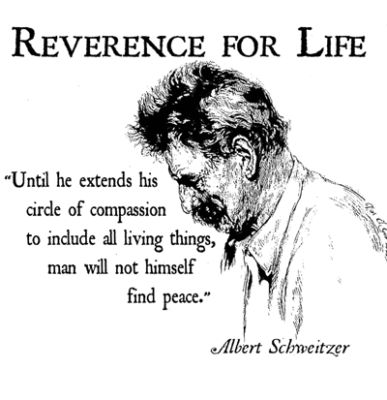 Reverence For Life - Until he extends his circle of compassion to include all living things, man will not himself find peace. -Albert Schweitzer T Shirt