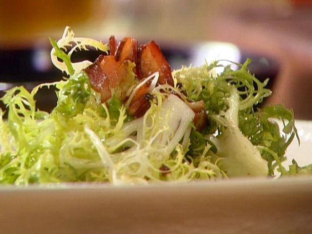 Frisee Salad with Blue Cheese, Bacon and Hazelnuts, recipe courtesy of Chef Anne Burrell