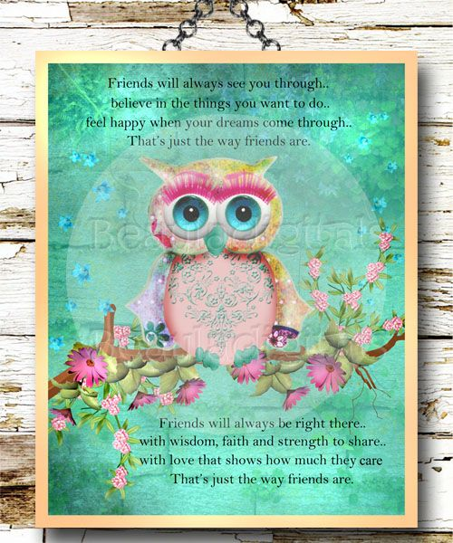 Rainbow Owl Friendship Poem. Gorgeous Rainbow colors were used to create this print along with one of my designer owls . A lovely friendship poem for someone special in your life.