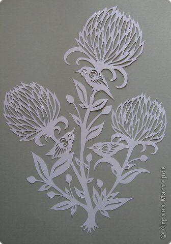 Картина, панно, рисунок Вырезание, Вырезание силуэтное, Вытынанка: Три цветка, три птички_Angie Pickman Бумага. Фото 15