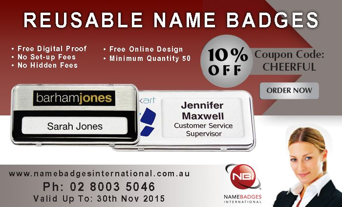 Don't forget our exclusive offer of 10% discount on #reusablenamebadges !!!