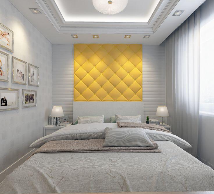 Спальня. Желтое изголовье кровати. Картины на стене. Дизайн-проект. Бежевый пол.Светильники на прикроватных тумбочках.