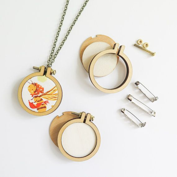 3 Mini Embroidery Hoops Necklace Brooch Kit  1.6 by snugglymonkey