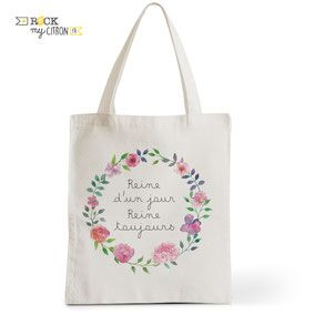 Tote Bag Mariage Rock my Citron, Reine d'Un Jour, Cadeaux Fêtes, Anniversaires, Mariages