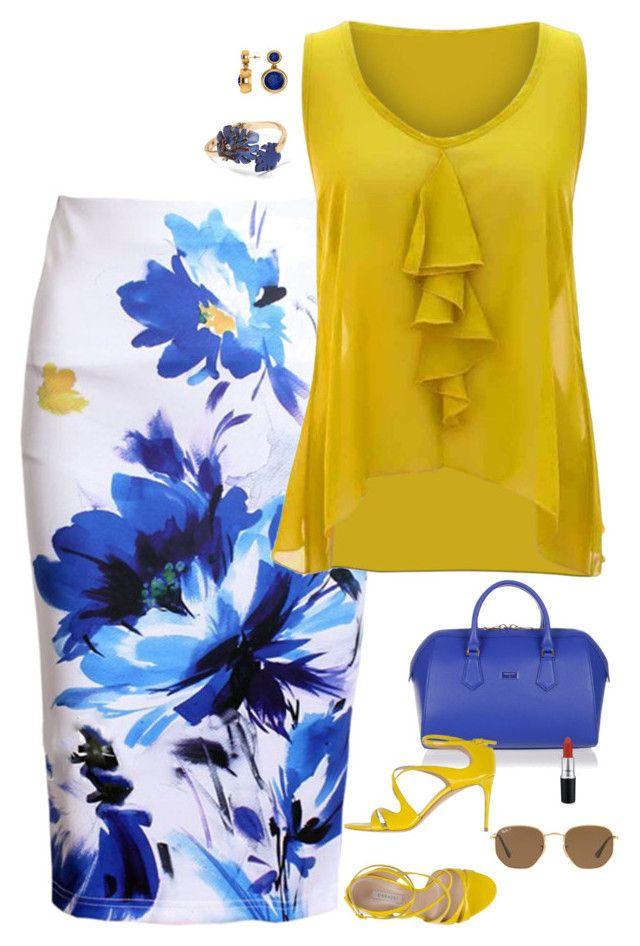 """Blue & yellow"" by julietajj on Polyvore featuring Patrizia Pepe, WithChic, jon & anna, Casadei, Allurez, Banana Republic, Ray-Ban and MAC Cosmetics"
