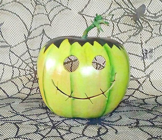 Frankenstein Pumpkin Decor Jack o Lantern by lindafrenchgallery
