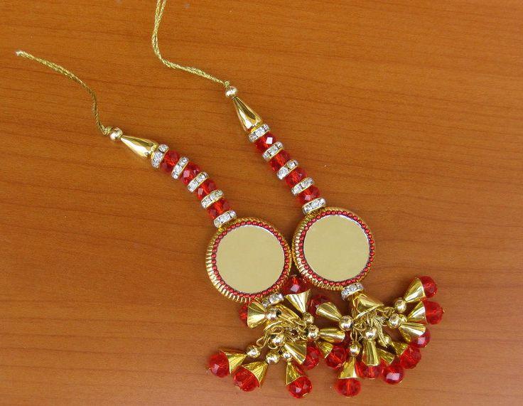 Tassels/ golden tassels/ mirror tassels/bridal tassels,beaded tassels in red color. 2 pcs. by vibrantscarves on Etsy